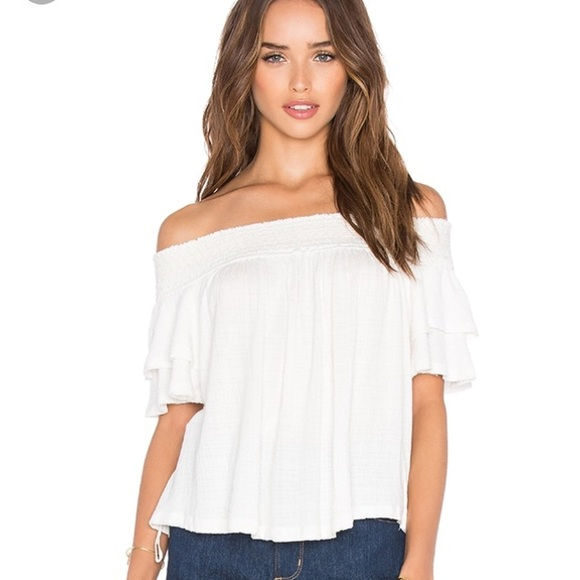 Free People Tops White Ruffle Off The Shoulder Blouse